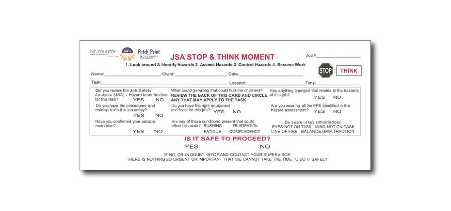 JSA Stop and Think Moment